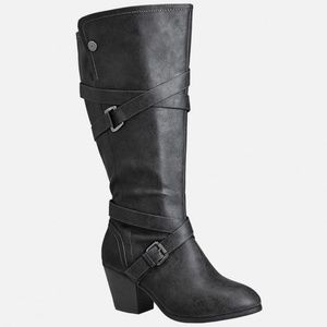 Grey Cross Strap Tall Extended Calf Boots - 8W